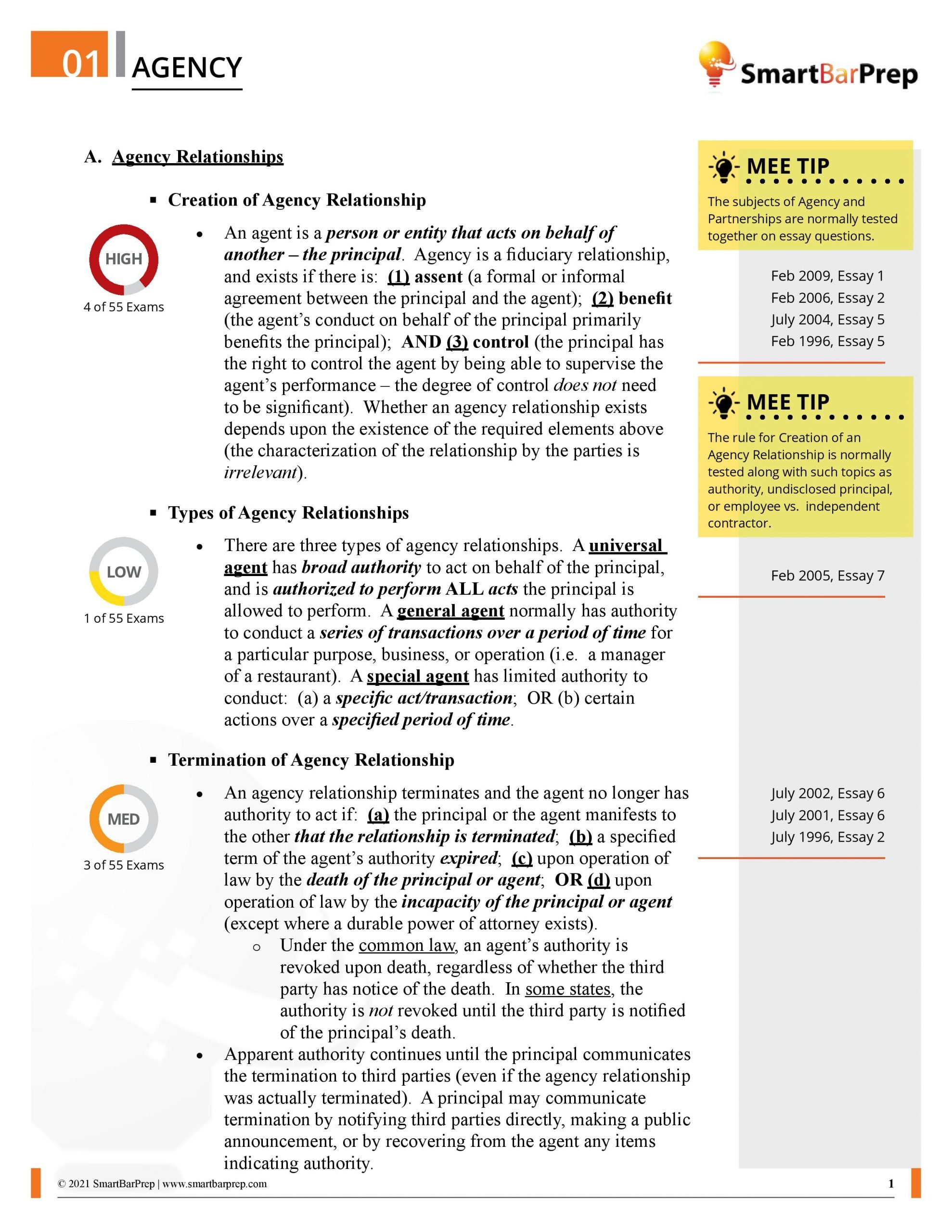 MEE Priority Outline Sample Page